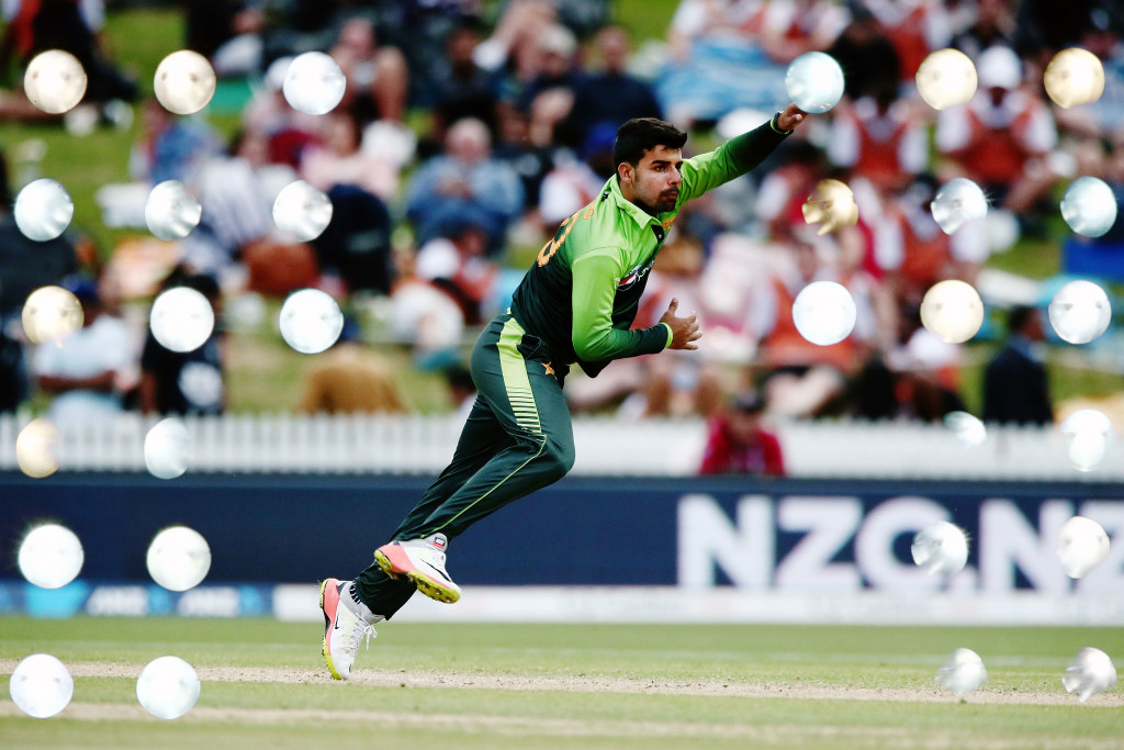 HAMILTON, NEW ZEALAND - JANUARY 16: (EDITORS NOTE: Multiple exposures were combined in camera to produce this image.) Shadab Khan of Pakistan bowls during game four of the One Day International Series between New Zealand and Pakistan at Seddon Park on January 16, 2018 in Hamilton, New Zealand. (Photo by Anthony Au-Yeung/Getty Images)