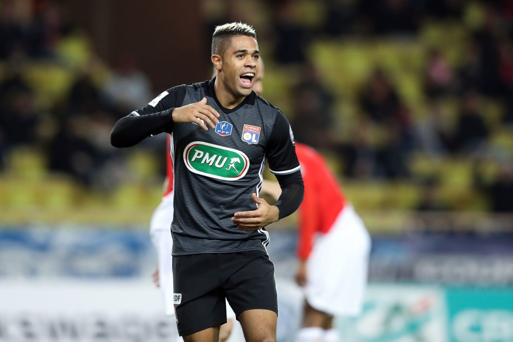 Lyon's Spanish forward Mariano Diaz (C) celebrates after scoring a goal during the French Cup round of 16 football match between Monaco and Lyon at the Louis II stadium in Monaco on January 24, 2018. / AFP PHOTO / VALERY HACHE (Photo credit should read VALERY HACHE/AFP/Getty Images)