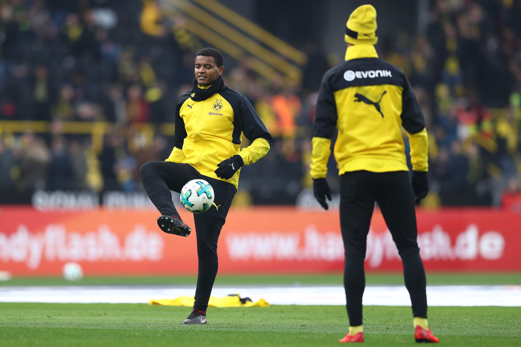 DORTMUND, GERMANY - JANUARY 27: Manuel Akanji of Dortmund (left) during warmup before the Bundesliga match between Borussia Dortmund and Sport-Club Freiburg at Signal Iduna Park on January 27, 2018 in Dortmund, Germany. (Photo by Lars Baron/Bongarts/Getty Images)