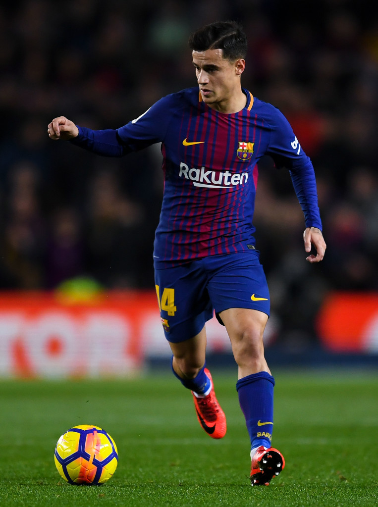 BARCELONA, SPAIN - JANUARY 28: Philippe Coutinho of FC Barcelona runs with the ball during the La Liga match between Barcelona and Deportivo Alaves at Camp Nou on January 28, 2018 in Barcelona, Spain. (Photo by David Ramos/Getty Images)