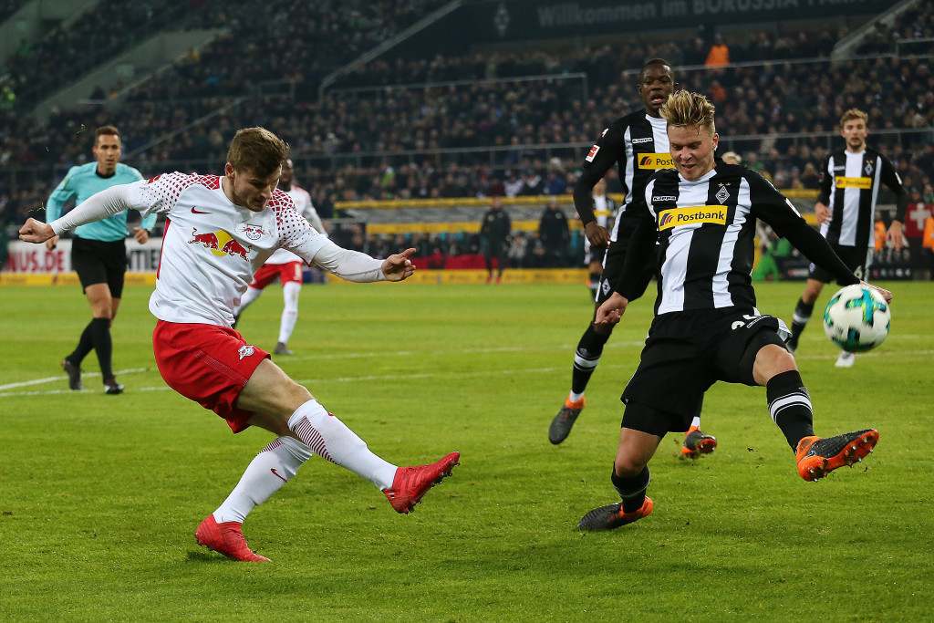 Timo Werner in action against Monchengladbach