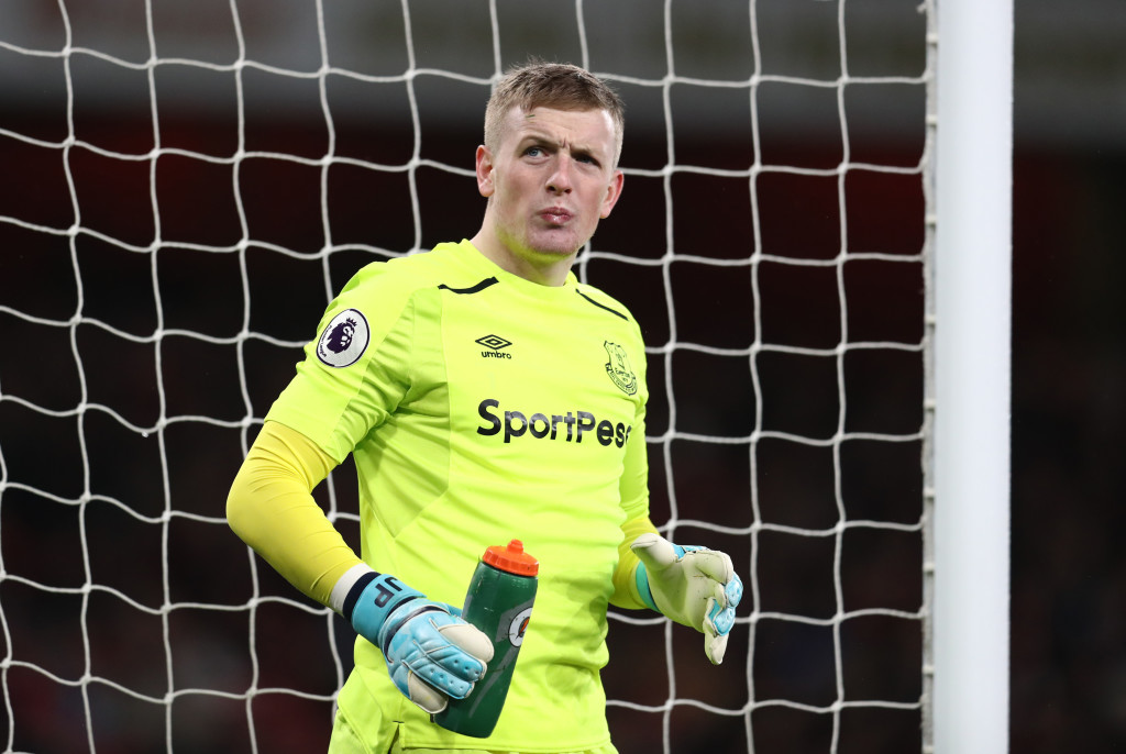 LONDON, ENGLAND - FEBRUARY 03: Jordan Pickford of Everton during the Premier League match between Arsenal and Everton at Emirates Stadium on February 3, 2018 in London, England. (Photo by Catherine Ivill/Getty Images)