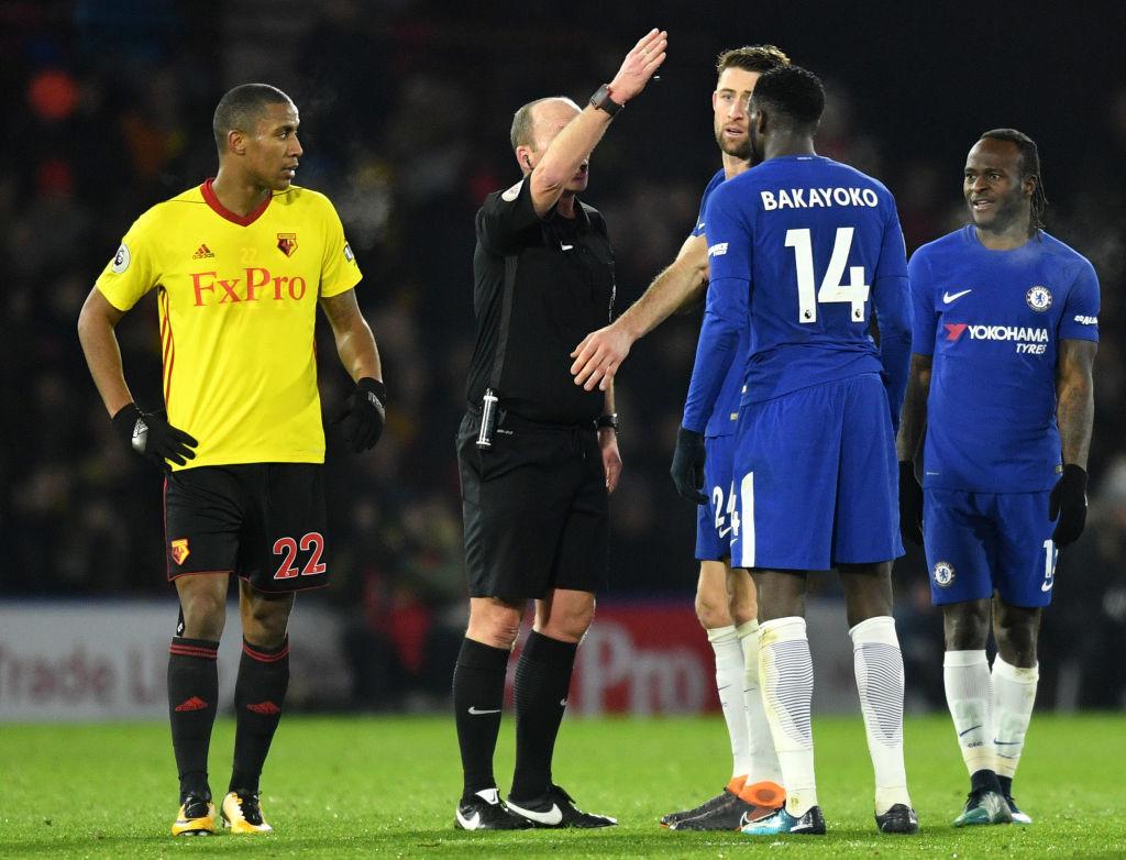 Tiemoue Bakayoko was sent off in the 31st minute
