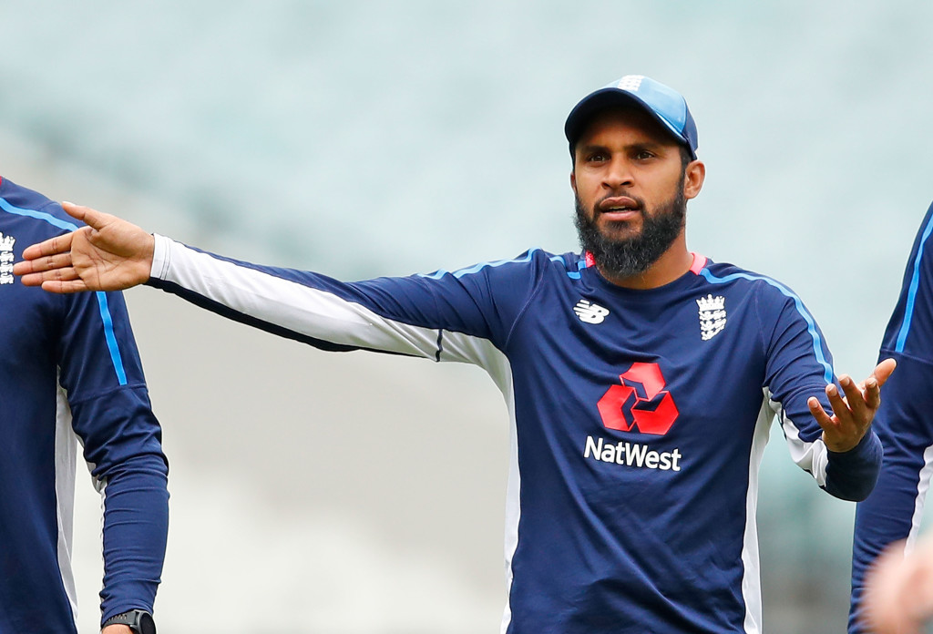MELBOURNE, AUSTRALIA - FEBRUARY 09:  Adil Rashid of England gestures during the England Twenty20 nets session at Melbourne Cricket Ground on February 9, 2018 in Melbourne, Australia.  (Photo by Scott Barbour/Getty Images)