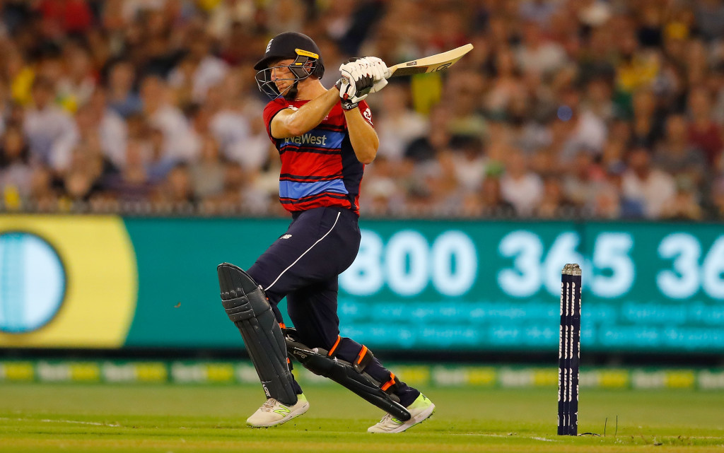 MELBOURNE, AUSTRALIA - FEBRUARY 10: Jos Buttler of England bats during game two of the International Twenty20 series between Australia and England at Melbourne Cricket Ground on February 10, 2018 in Melbourne, Australia. (Photo by Scott Barbour/Getty Images)