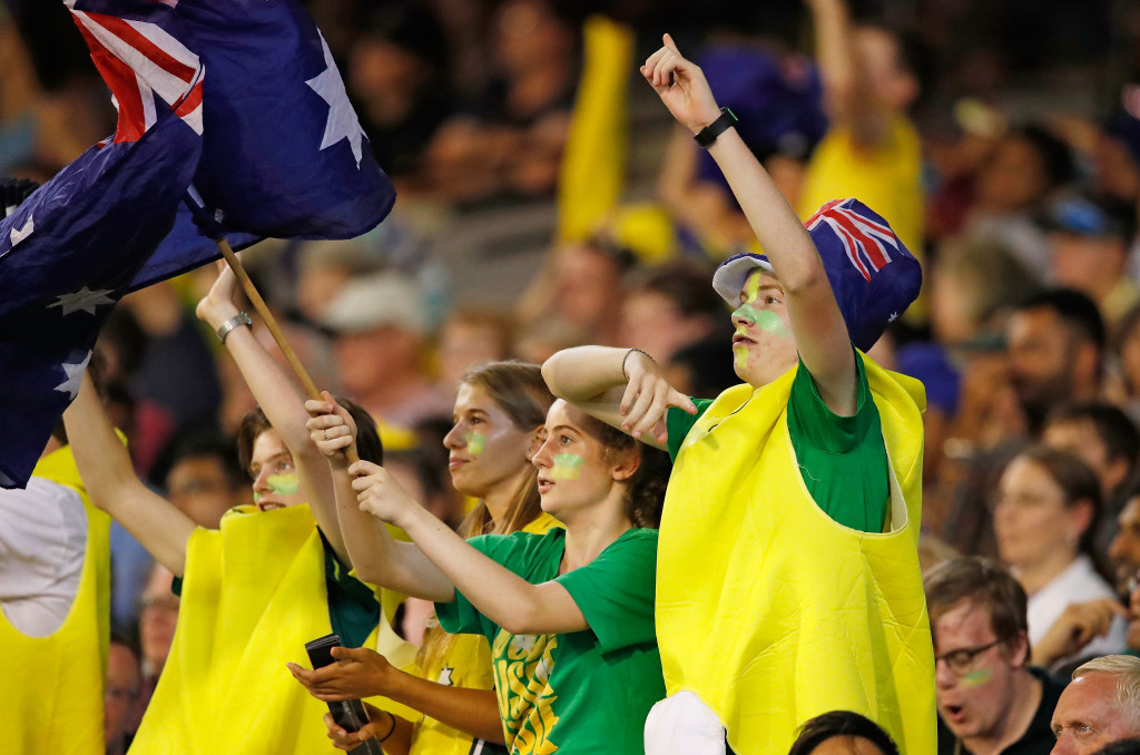 MELBOURNE, AUSTRALIA - FEBRUARY 10: Fans in the crowd show their support during game two of the International Twenty20 series between Australia and England at Melbourne Cricket Ground on February 10, 2018 in Melbourne, Australia. (Photo by Scott Barbour/Getty Images)