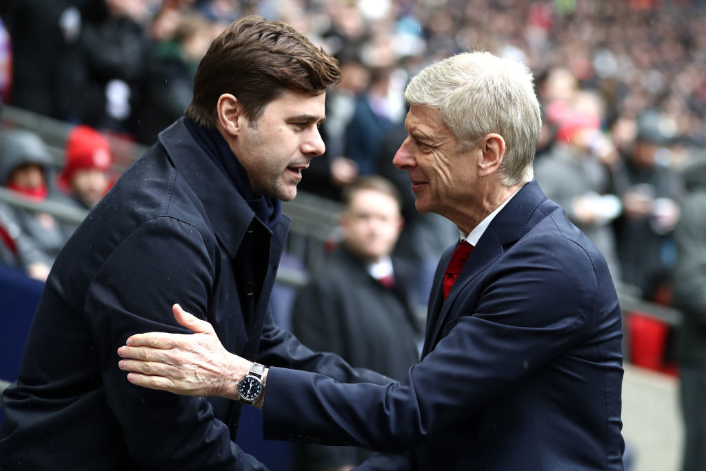 Mauricio Pochettino and Arsene Wenger before Saturday's clash