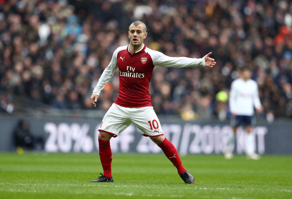 LONDON, ENGLAND - FEBRUARY 10: Jack Wilshere of Arsenal during the Premier League match between Tottenham Hotspur and Arsenal at Wembley Stadium on February 10, 2018 in London, England. (Photo by Catherine Ivill/Getty Images)