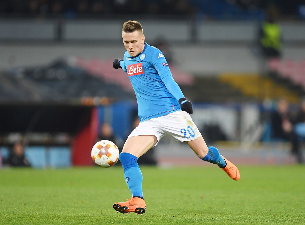 NAPLES, ITALY - FEBRUARY 15: Piotr Zielinski of SSC Napoli in action during UEFA Europa League Round of 32 match between Napoli and RB Leipzig at the Stadio San Paolo on February 15, 2018 in Naples, Italy. (Photo by Francesco Pecoraro/Getty Images)