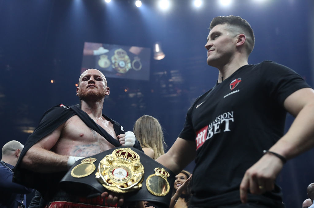 George Groves celebrates with his trainer Shane McGuigan