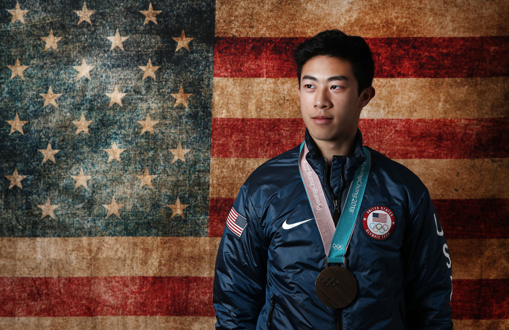GANGNEUNG, SOUTH KOREA - FEBRUARY 17: (BROADCAST-OUT) United States Men's Figure Skater Nathan Chen poses for a portrait with his bronze medal in the team event on the Today Show Set on February 17, 2018 in Gangneung, South Korea. (Photo by Marianna Massey/Getty Images)