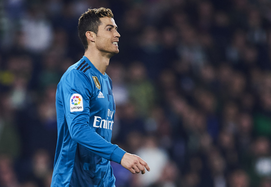 SEVILLE, SPAIN - FEBRUARY 18: Cristiano Ronaldo of Real Madrid reacts during the La Liga match between Real Betis and Real Madrid at Benito Villamrin stadium on February 18, 2018 in Seville, Spain. (Photo by Aitor Alcalde/Getty Images)