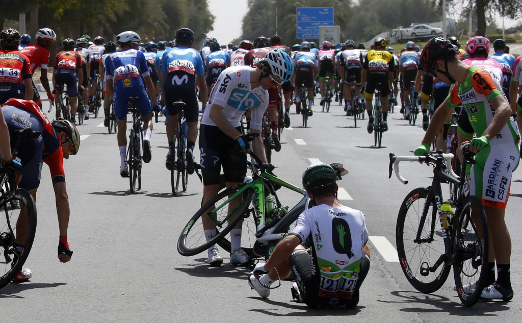 Mark Cavendish after his crash and before withdrawing from the Abu Dhabi Tour