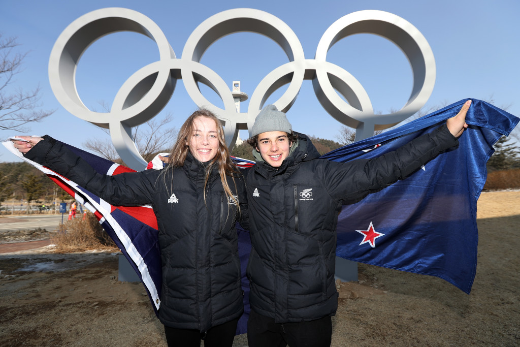 PYEONGCHANG-GUN, SOUTH KOREA - FEBRUARY 25: Flag bearers Zoi Sadowski-Synnott and Nico Porteous of New Zealand pose for a photo on day sixteen of the PyeongChang 2018 Winter Olympic Games on February 25, 2018 in Pyeongchang-gun, South Korea. (Photo by Chris Graythen/Getty Images)