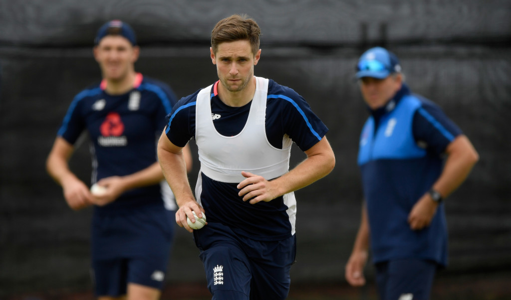 TAURANGA, NEW ZEALAND - FEBRUARY 27: England bowler Chris Woakes in action during nets ahead of the 2nd ODI at the Bay Oval on February 27, 2018 in Tauranga, New Zealand. (Photo by Stu Forster/Getty Images)