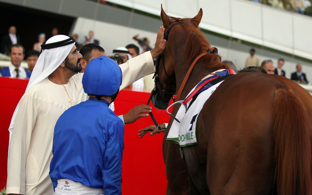 HRH. Prime Minister and ruler of Dubai  Sheikh Mohammed bin Rashed al-Maktoum (L), the visionary behind the Dubai World Cup.