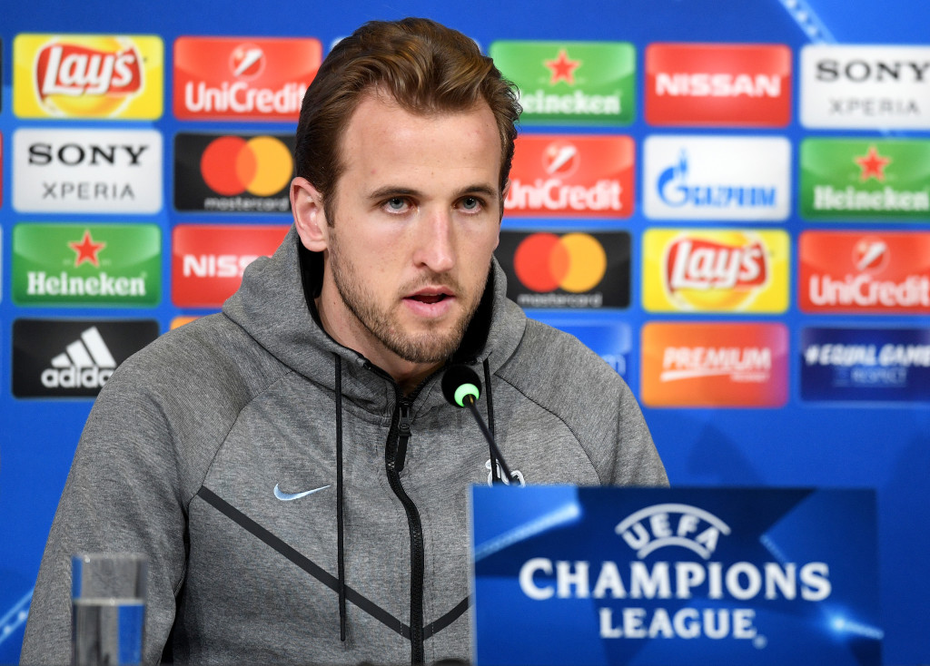 TURIN, ITALY - FEBRUARY 12: Harry Kane of Tottenham Hotspur speaks to the media during the press conference at Allianz Stadium on February 12, 2018 in Turin, Italy. (Photo by Michael Regan/Getty Images)
