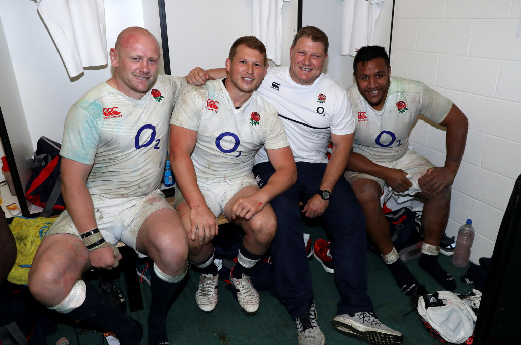 MELBOURNE, AUSTRALIA - JUNE 18: (L-R) Dan Cole, Dylan Hartley, Neal Hatley, the scrum coach and Mako Vunipola of England celebrate after their victory during the International Test match between the Australian Wallabies and England at AAMI Park on June 18, 2016 in Melbourne, Australia. (Photo by David Rogers/Getty Images)