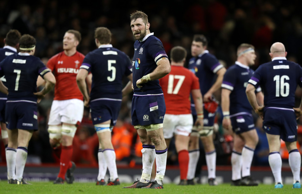 John Barclay, captain of Scotland, looks dejected after the loss to Wales