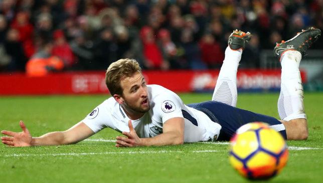 Kane of Tottenham Hotspur reacts