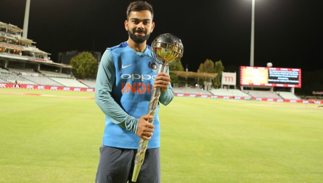 Kohli receives the Test mace in South Africa. Image courtesy: @ICC/Twitter