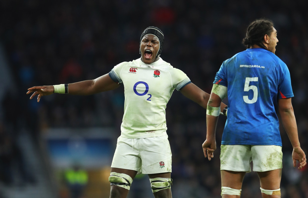LONDON, ENGLAND - NOVEMBER 25: Maro Itoje of England reacts during the Old Mutual Wealth Series match between England and Samoa at Twickenham Stadium on November 25, 2017 in London, England. (Photo by Warren Little/Getty Images)