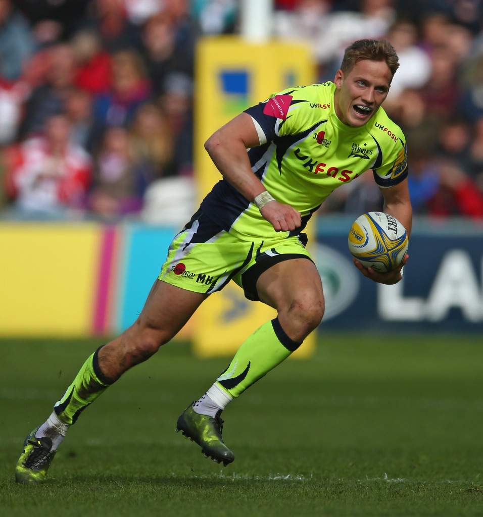 GLOUCESTER, ENGLAND - APRIL 15: Mike Haley of Sale Sharks in action during the Aviva Premiership match between Gloucester Rugby and Sale Sharks at Kingsholm Stadium on April 15, 2017 in Gloucester, England. (Photo by Steve Bardens/Getty Images)