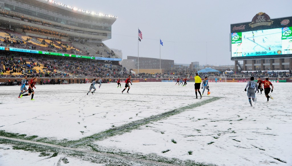 Minnesota United play Atlanta United - the MLS' two new teams last season - at United's TCF Bank Stadium last March.