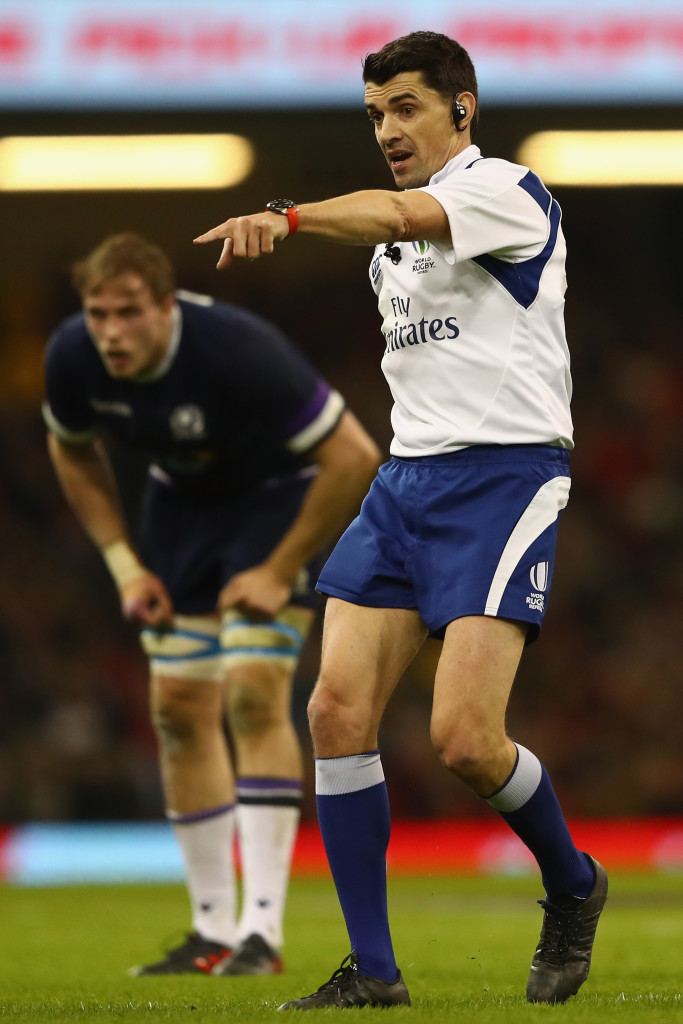 CARDIFF, WALES - FEBRUARY 03: Referee Pascal Gauzere of France during the NatWest Six Natons match between Wales and Scotland at the Principality Stadium on February 3, 2018 in Cardiff, Wales. (Photo by Michael Steele/Getty Images)
