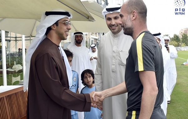 Sheikh Mansour bin Zayed Al Nahyan, the man behind the City Football Group, chats with Pep Guardiola
