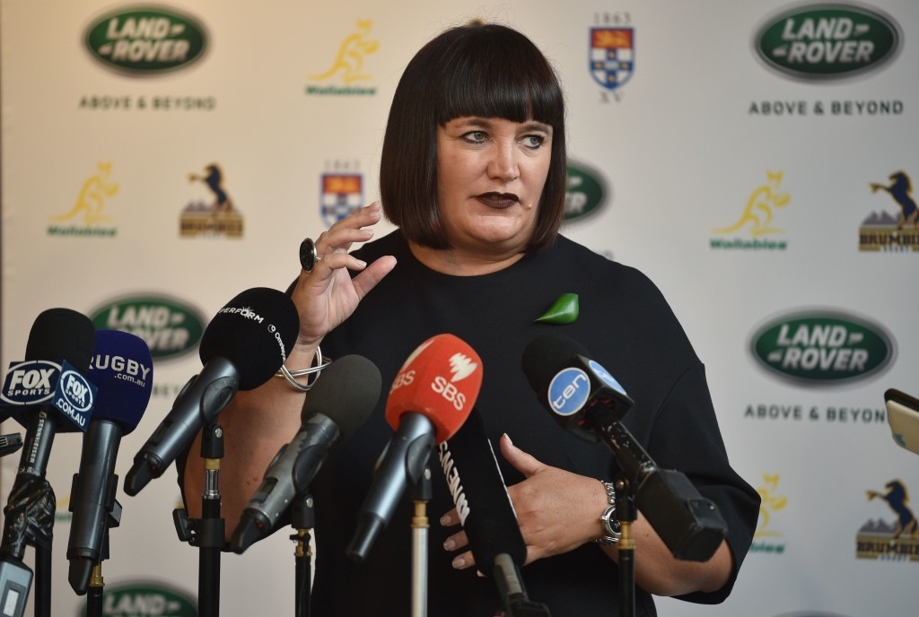 "Rugby Australia chief Raelene Castle speaks to the media at an event at the Rugby Australia headquarters in Sydney on February 9, 2018. Rugby Australia chief Raelene Castle on February 9 defended Quade Cooper's contract situation but admitted it was not ""perfect"", as the dumped playmaker prepares to play club games on a Super Rugby salary this season. / AFP PHOTO / Peter PARKS / --IMAGE RESTRICTED TO EDITORIAL USE - STRICTLY NO COMMERCIAL USE--        (Photo credit should read PETER PARKS/AFP/Getty Images)"