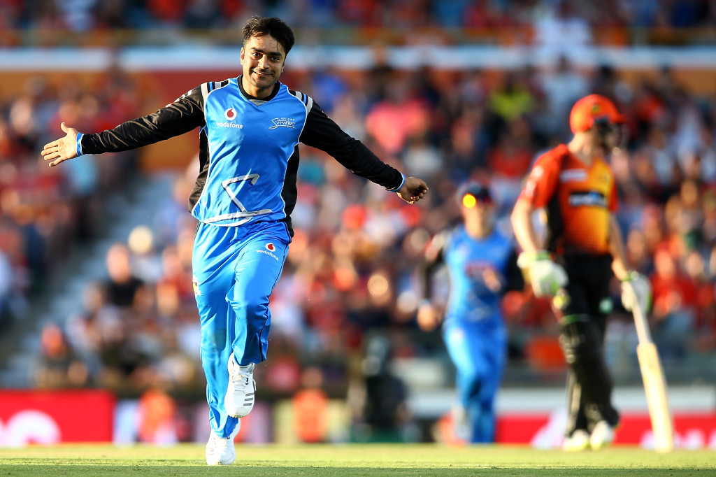 PERTH, AUSTRALIA - JANUARY 25: Rashid Khan of the Strikers celebrates the wicket of Ashton Turner of the Scorchers during the Big Bash League match between the Perth Scorchers and the Adelaide Strikers at WACA on January 25, 2018 in Perth, Australia. (Photo by Paul Kane/Getty Images)