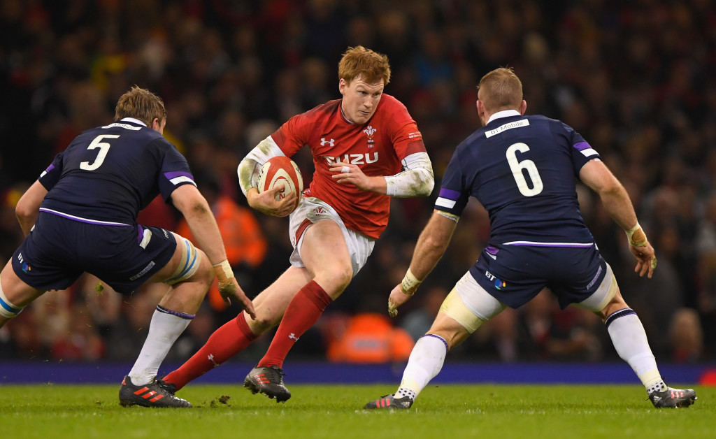 CARDIFF, WALES - FEBRUARY 03: Wales player Rhys Patchell runs at the Scotland defence during the NatWest 6 Nations game between Wales and Scotland at Principality Stadium on February 3, 2018 in Cardiff, Wales. (Photo by Stu Forster/Getty Images)