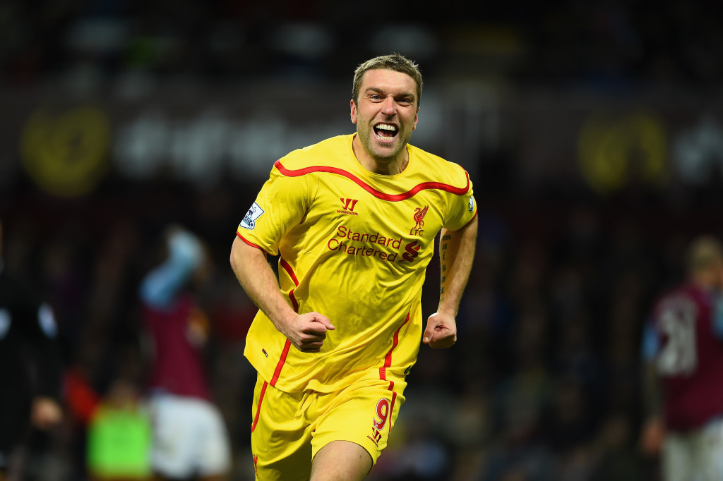 BIRMINGHAM, ENGLAND - JANUARY 17: Rickie Lambert of Liverpool celebrates scoring their second goal during the Barclays Premier League match between Aston Villa and Liverpool at Villa Park on January 17, 2015 in Birmingham, England. (Photo by Laurence Griffiths/Getty Images)