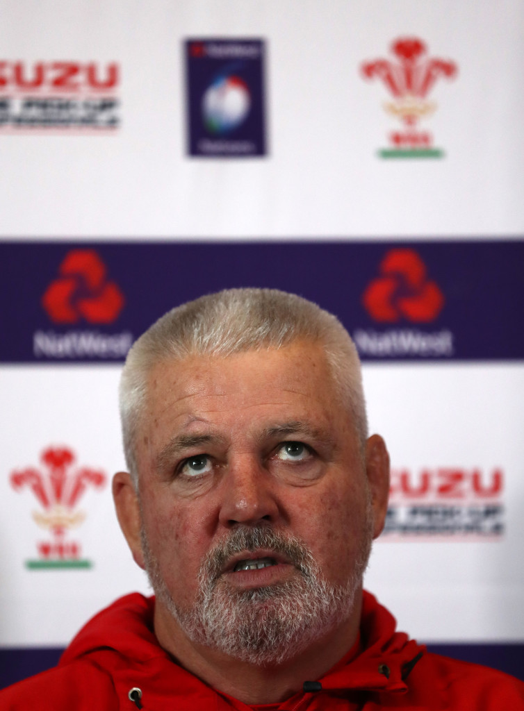 CARDIFF, WALES - FEBRUARY 06: Wales coach Warren Gatland speaks to the media during a press conference at Vale of Glamorgan on February 6, 2018 in Cardiff, Wales. (Photo by Catherine Ivill/Getty Images)