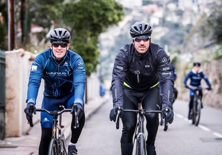 Christoph Grainger-Herr, CEO of IWC Schaffhausen, and Cancellara leading the Laureus Sport For Good Ride