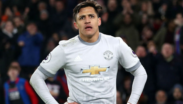 Alexis Sanchez of Manchester United reacts