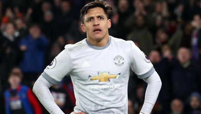 Alexis Sanchez of Manchester United reacts