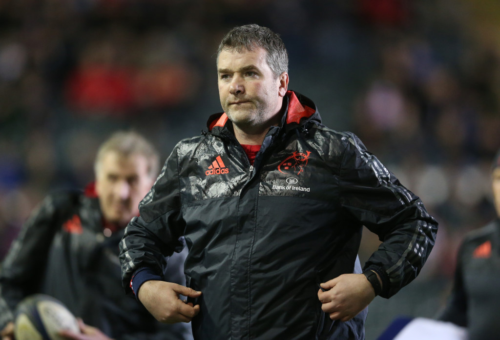 LEICESTER, ENGLAND - DECEMBER 20: Anthony Foley, the Munster head coach looks on during the European Rugby Champions Cup match between Leicester Tigers and Munster at Welford Road on December 20, 2015 in Leicester, England. (Photo by David Rogers/Getty Images)