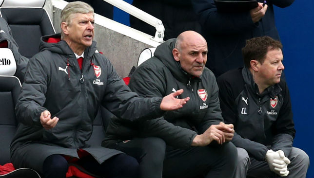 Arsene Wenger, Manager of Arsenal reacts