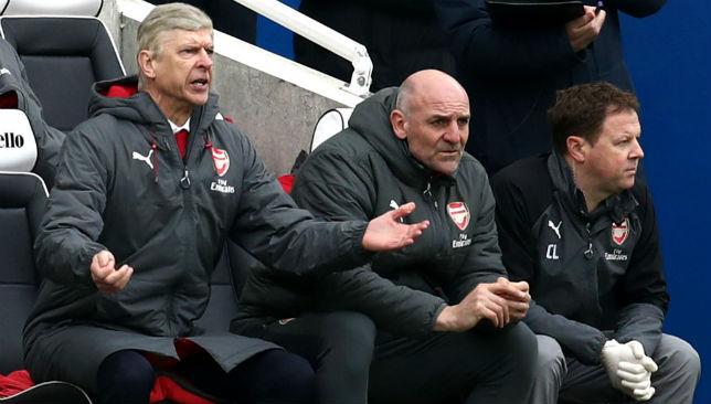 Arsene Wenger, Manager of Arsenal reacts
