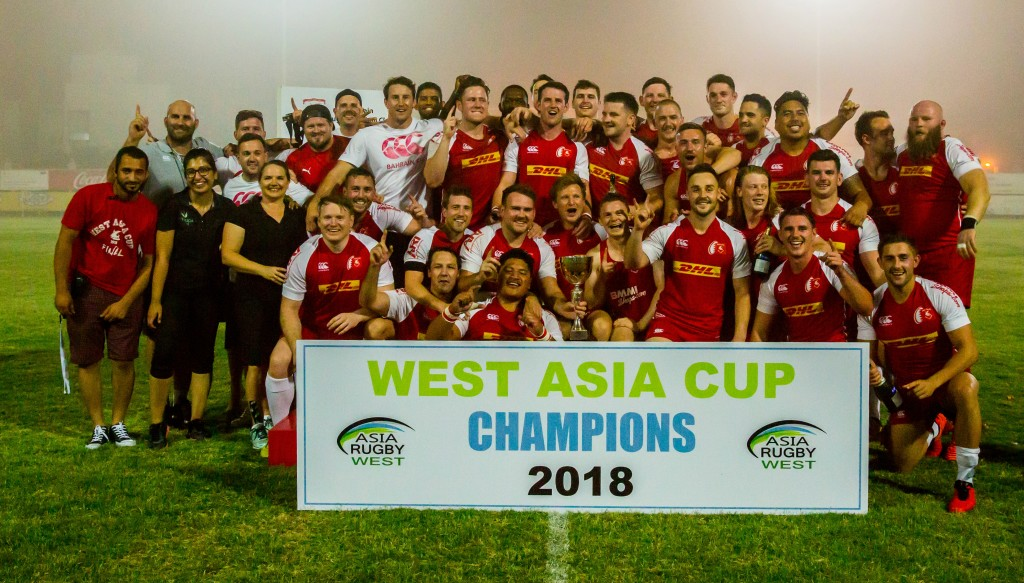 Tonkin (back row, 2nd l) led Bahrain to the West Asia Cup title in 2018 - it was a first trophy for the club in eight years.