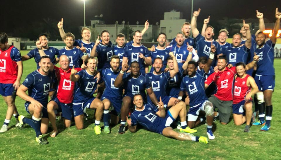 Dragons are slayers: Jebel Ali celebrate after victory in Bahrain.