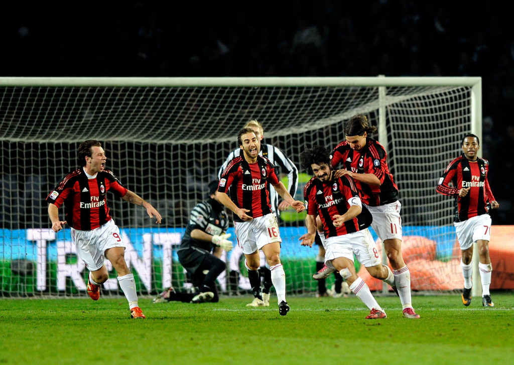 Gennaro Gattuso of AC Milan celebrates scoring the winner at Juventus in March 2011.