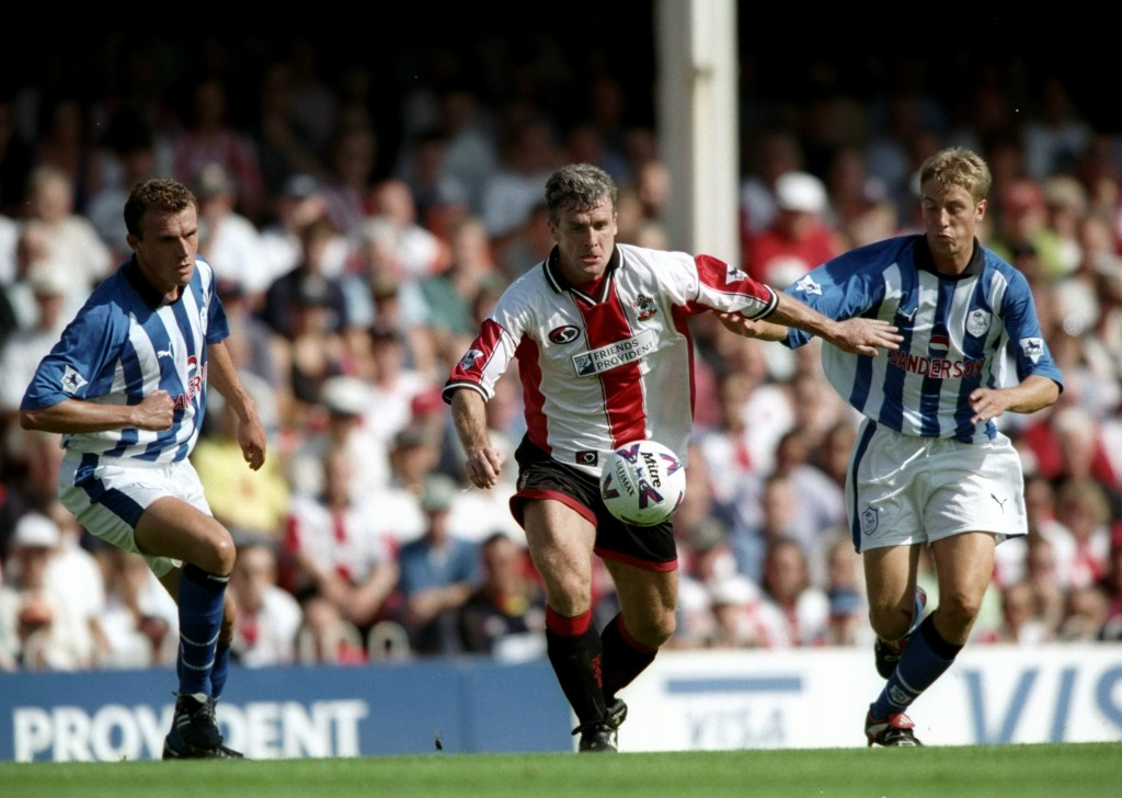 28 Aug 1999: Mark Hughes of Southampton battles away against Sheffield Wednesday during the FA Carling Premiership match at the Dell in Southampton, England. Southampton won 2-0. Mandatory Credit: Chris Lobina /Allsport