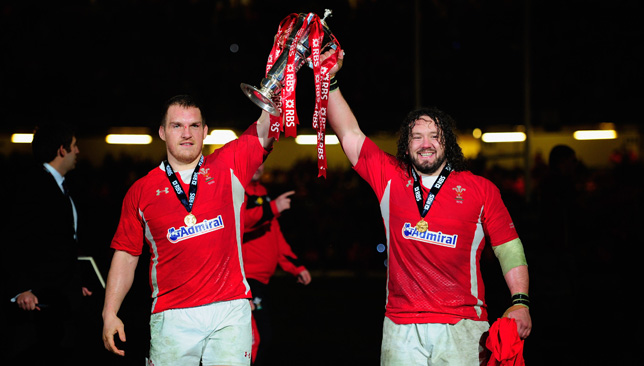 Gethin Jenkins and Adam Jones lift the Grand Slam - one of two under Gatland.