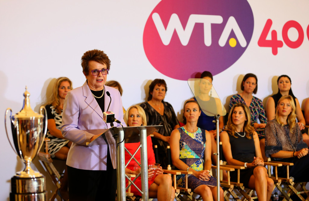 LONDON, ENGLAND - JUNE 30: Billie Jean King speaks at the WTA 40 Love Celebration during Middle Sunday of the Wimbledon Lawn Tennis Championships at the All England Lawn Tennis and Croquet Club on June 30, 2013 in London, England. (Photo by Julian Finney/Getty Images)