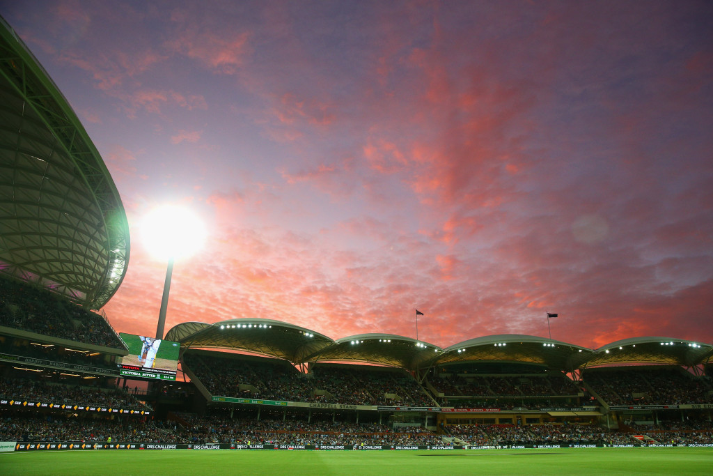 ADELAIDE, AUSTRALIA - NOVEMBER 27: A general view as the sun sets during day one of the Third Test match between Australia and New Zealand at Adelaide Oval on November 27, 2015 in Adelaide, Australia. (Photo by Cameron Spencer/Getty Images)