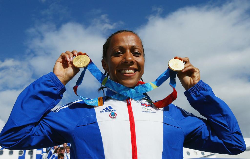 Kelly Holmes with her two Olympic gold medals