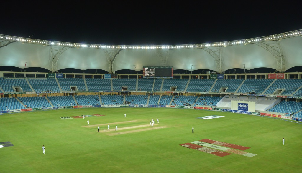 A general view shows empty enclosures on the opening day of the first day-night Test between Pakistan and the West Indies at the Dubai International Cricket Stadium in the Gulf Emirate on October 13, 2016. Pakistan captain Misbah-ul-Hq won the toss and opted to bat in the first Test -- a day-night affair with a pink ball -- against the West Indies in Dubai. / AFP / AAMIR QURESHI (Photo credit should read AAMIR QURESHI/AFP/Getty Images)
